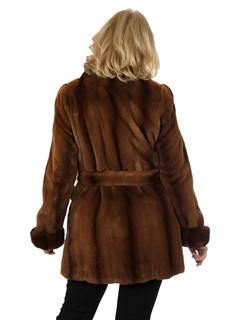Woman's Cognac Sheared Mink Fur Stroller with Belt