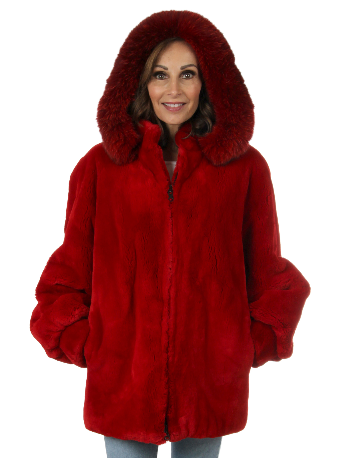 Woman's Red Sheared Beaver Fur Jacket with Detachable Fur Trimmed Hood