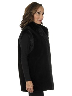 Woman's Deepest Brown Sheared Mink Fur Vest/Reversible