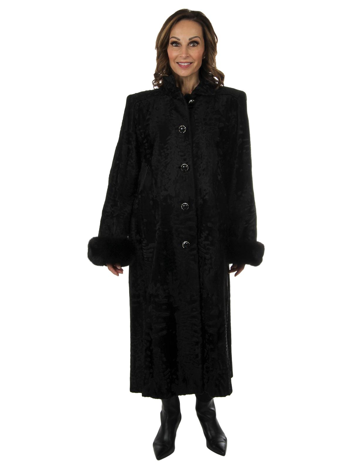 Woman's Black Swakara Lamb Fur Coat with Fox Cuffs