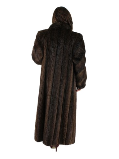 Long Hair Natural Beaver Fur Coat