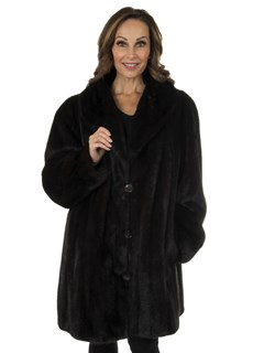 Woman's Dark Mahogany Mink Fur Stroller Reversing to Fabric