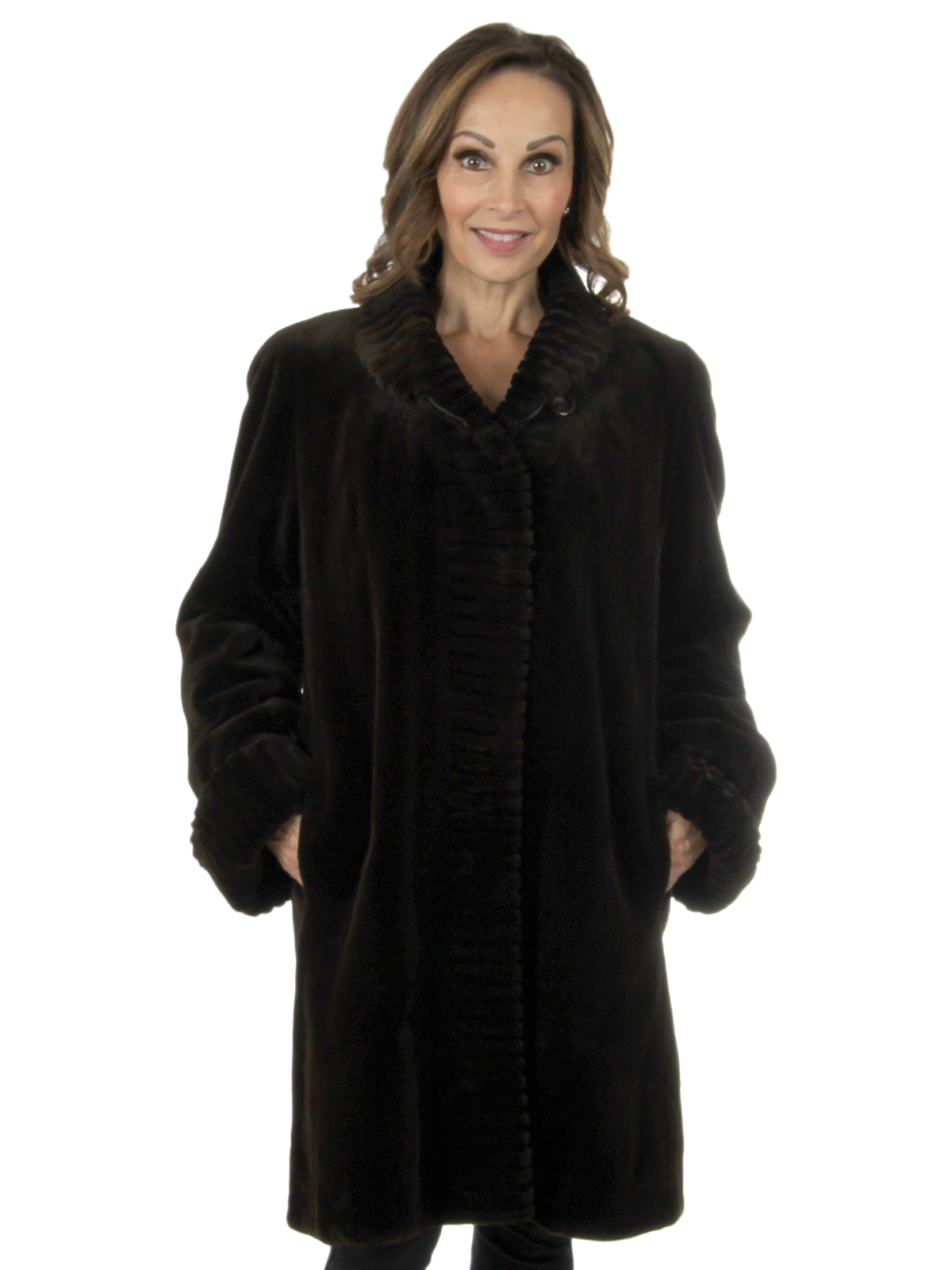 Woman's Brown Sheared Mink Fur Stroller Reverses to Rain Taffeta