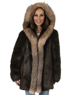 Woman's Medium Tone Long Hair Beaver Fur Parka with Fox Trim