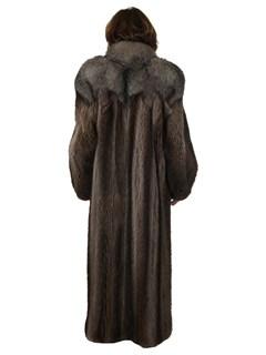 Woman's Raccoon Fur Coat with Indigo Fox Trim