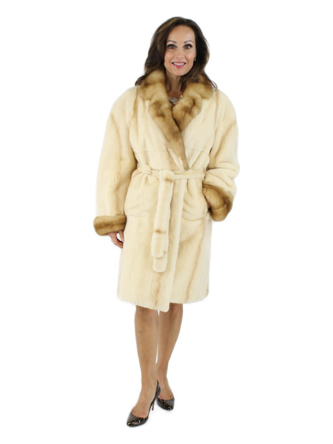 Cream Sheared Mink Coat with Sable Collar