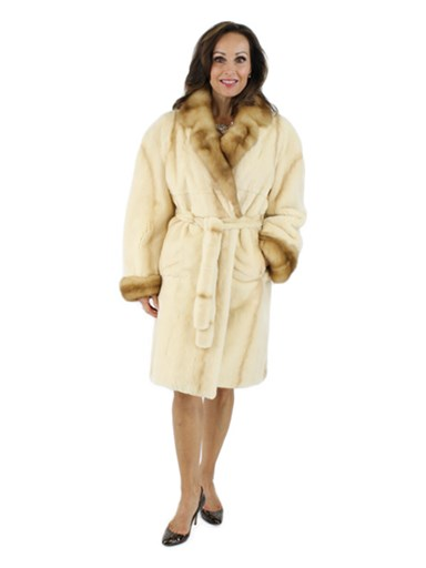 Sheared Mink Coat w/ Sable Collar