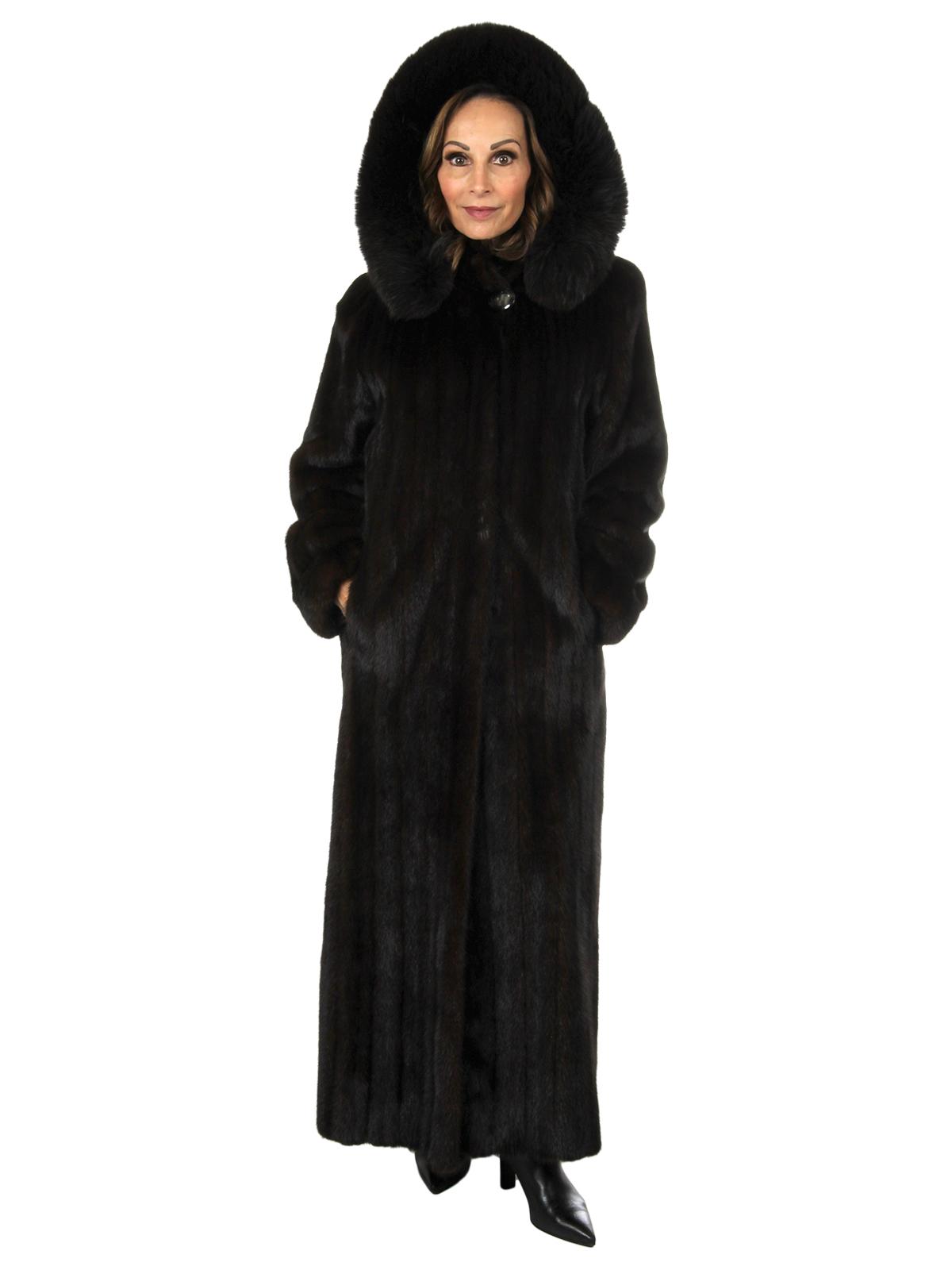 Woman's Deep Mahogany Female Mink Fur Coat with Hood