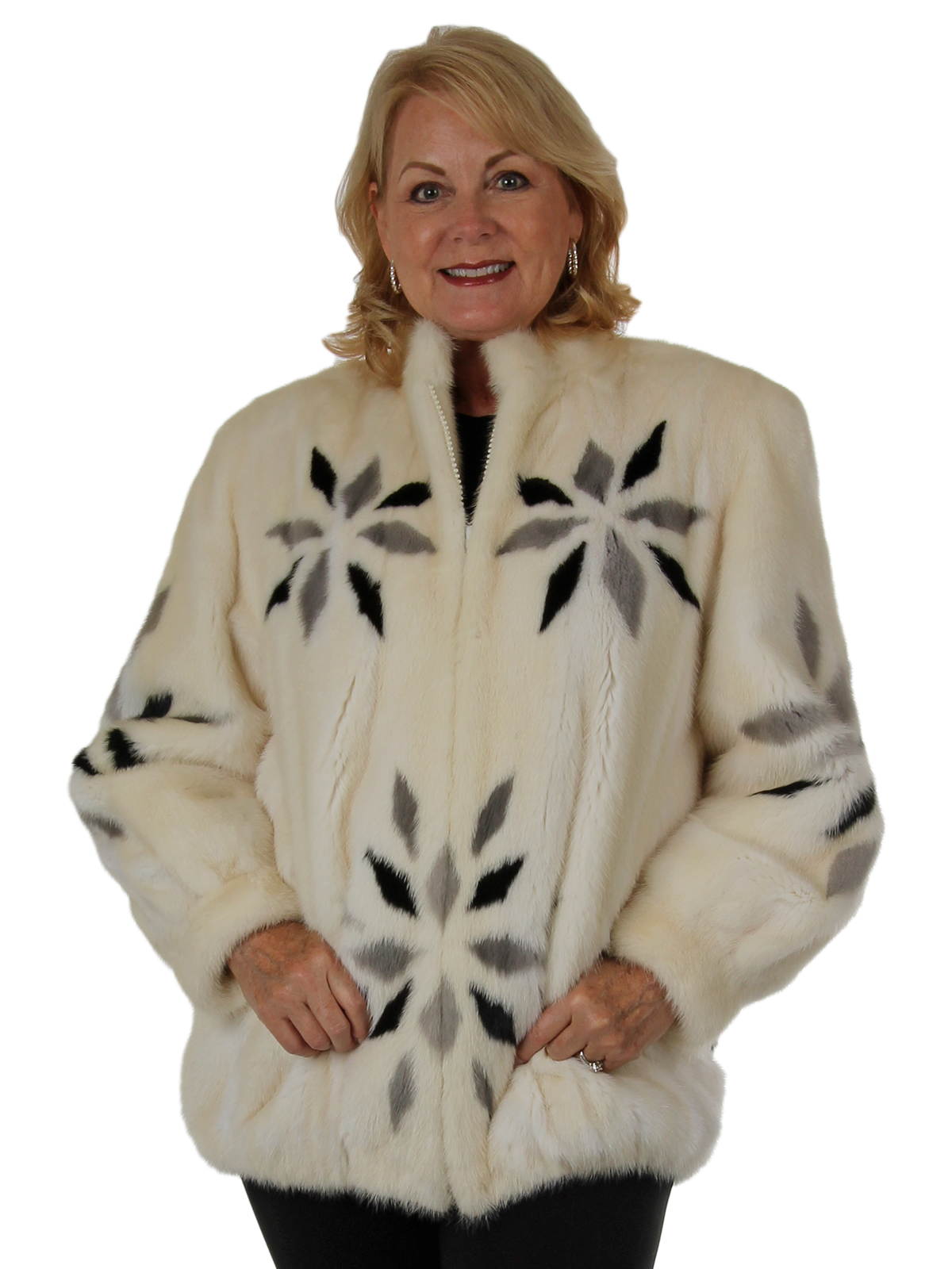 Woman's White Mink Fur Jacket with Black and Grey Mink Inserts