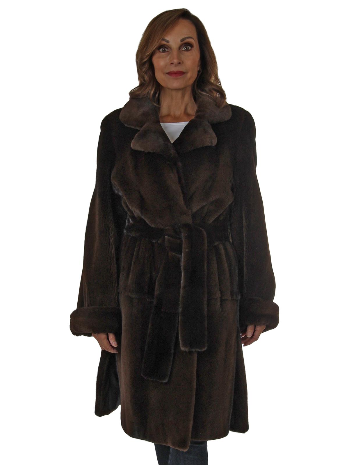 Woman's Chocolate Brown Semi-Sheared Mink Fur 7/8 Coat with Belt
