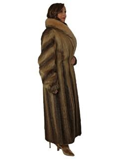 Woman's Vintage Nutria Fur Coat with Fox Collar