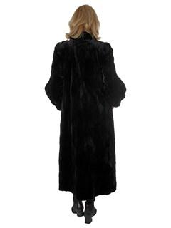 Woman's Black Sheared and Sculptured Mink Fur Coat / Reversible