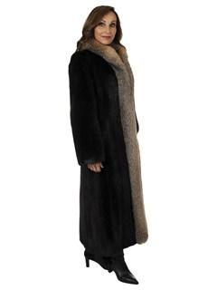 Woman's Deep Mahogany Mink Fur Coat with Crystal Fox Tuxedo Front