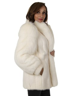 Woman's White Mink Fur Jacket with Shadow Fox Sleeves and Tuxedo Front