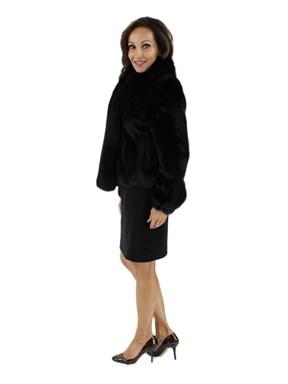 Petite Ranch Mink Fur Jacket w/ Black Fox Tuxedo