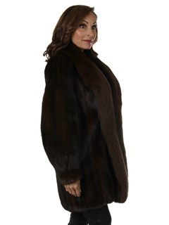 Woman's Mahogany Female Mink Fur Stroller with Dyed to Match Fox Tuxedo