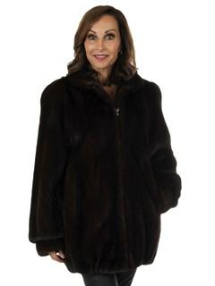 Woman's Mahogany Female Mink Fur Zipper Jacket