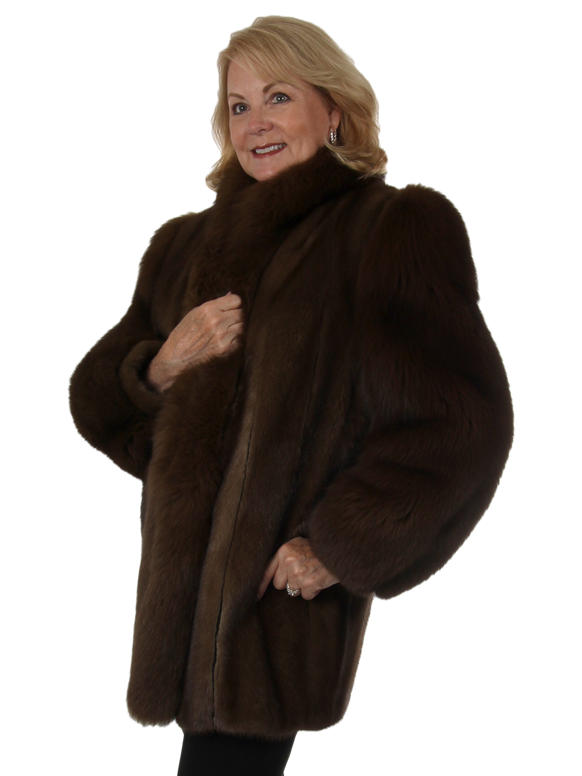 Woman's Lunaraine Mink Fur Stroller with Fox Tuxedo and Sleeves
