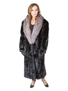 Woman's Sectioned Ranch Mink Fur Coat with Indigo Fox Collar