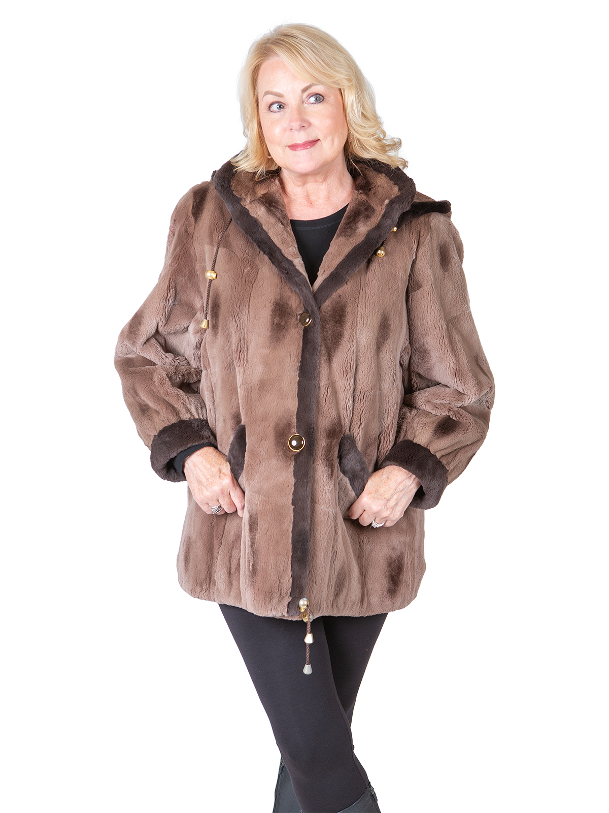 Woman's Taupe Sheared Muskrat Jacket with Detachable Hood