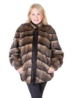 Woman's Natural Muskrat Fur Stroller with Sheared Muskrat Trim / Reversible