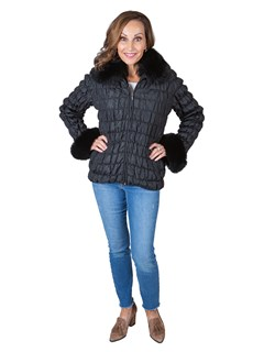 Woman's Black Fabric Jacket with Fox Fur Collar and Cuffs / Fur Lining