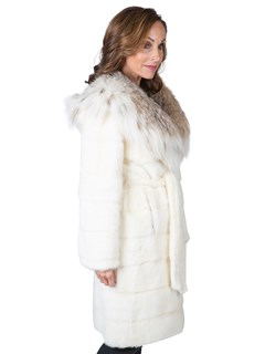 Woman's White Mink Fur Stroller with Canadian Lynx Collar and Hood
