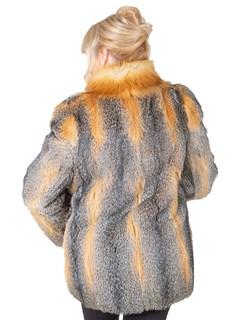 Woman's Kit Fox Fur Jacket with Red Fox Trim