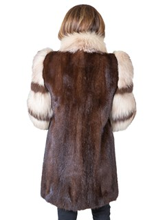 Woman's Mahogany Mink Fur Stroller with Fox Tuxedo and Sleeves