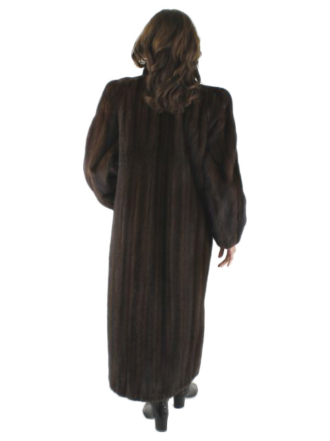 Mahogany mink coat with stand up collar
