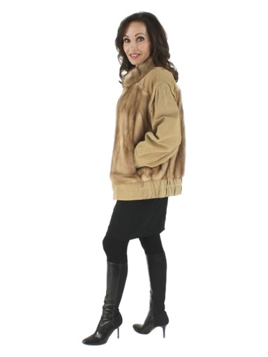 Autumn Haze Mink Fur Jacket w/ Zip Out Suede Sleeves
