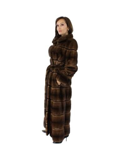 Demibuff Belted Full Length Mink Fur Coat