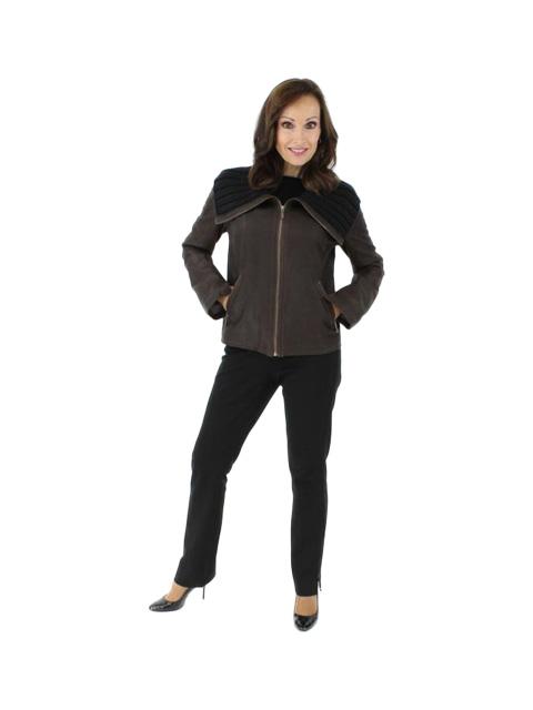 NEW Woman's Petite Dark Chocolate Brown Leather Jacket