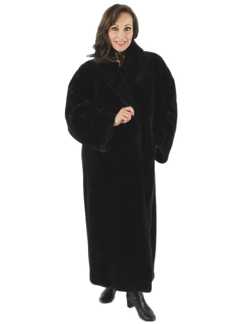 Woman's Full Length Black Sheared Beaver Fur Coat