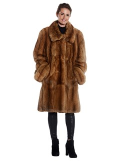 Woman's Timeless Golden Sable Fur 7/8 Coat
