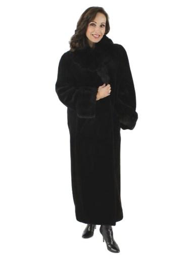 Sheared Mink Fur Coat w/ Chinchilla Trim