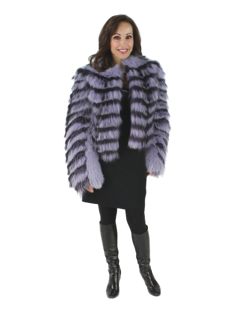 Michael Kors Designer Lilac Feathered Fox Bolero Jacket.