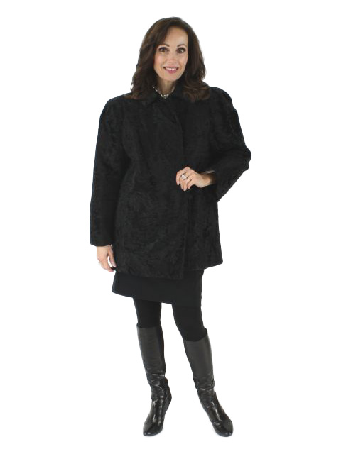 Woman's Givenchy Designer Black Swakara Lamb Jacket