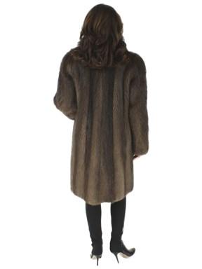 Long Hair Natural Beaver Fur Coat