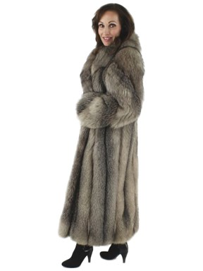 Stroll Down Broadway Fabulous Natural Full Length Indigo Fox Coat