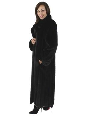Full Length Ranch Mink Fur Coat - Women's Medium