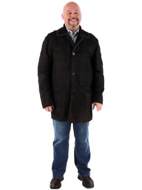 Men's Handsome Dark Chocolate Brown Shearling Jacket