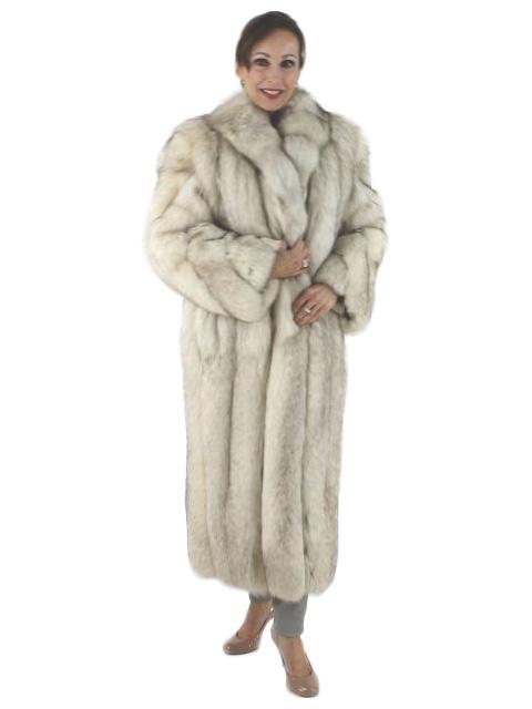 Woman's Natural Petite Blue Fox Fur Coat
