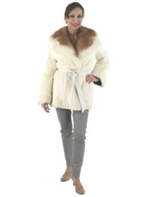 Rabbit Fur Jacket w/ Contrasting Collar