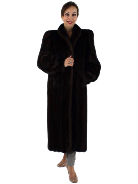 Woman's Petite Full Length Mahogany Mink Fur Coat