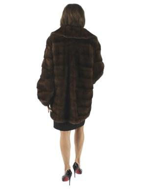 Horizontal Cut Mink Fur Jacket