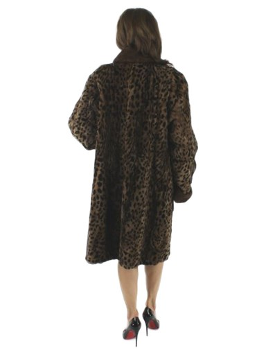 Wild Side Animal Print Mink Fur Section Coat w/ Demibuff Trim
