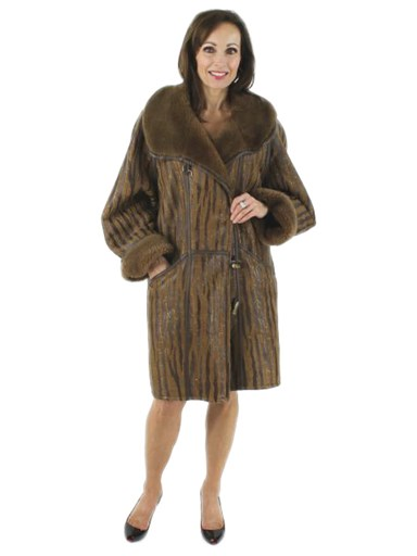 Shearling Coat w/ Leather and Metallic Accents
