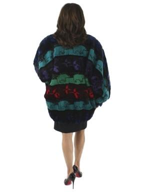 Multi Colored Sheared Rex Rabbit Fur Jacket