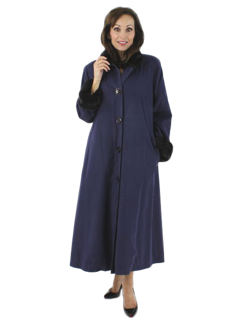 Woman's Deep Periwinkle Petite Full Length Raincoat with Nutria Lining